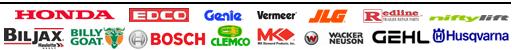 Brand Equipment Tool Rentals - Honda, Edco, Genie, Vermeer, JLG, Niftylift, Husqvarna, Billy Goat, Bosch, Clemco, Wacker Neuson, Gehl.